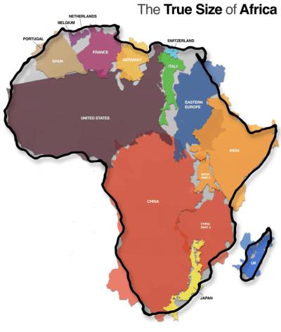 De werkelijke grootte van Afrika