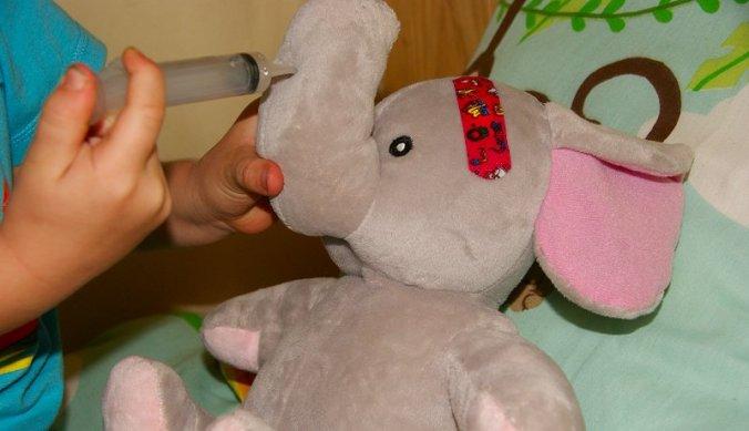 Julian geeft zijn olifant een vaccinatie