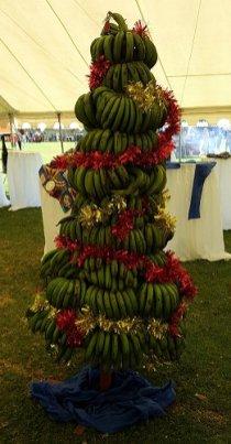 Kerstboom van bananen