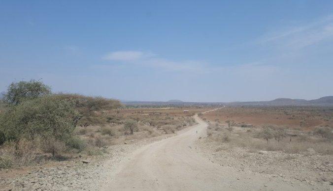 Droog landschap op weg naar Lake Eyasi