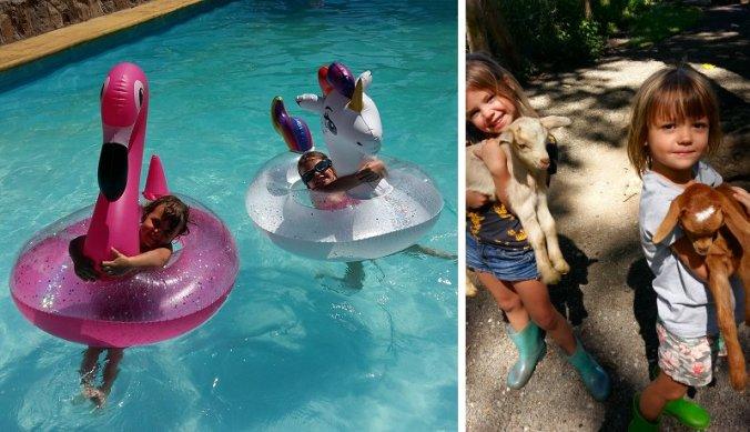 Nichtjes in het zwembad en knuffelen met de geitjes