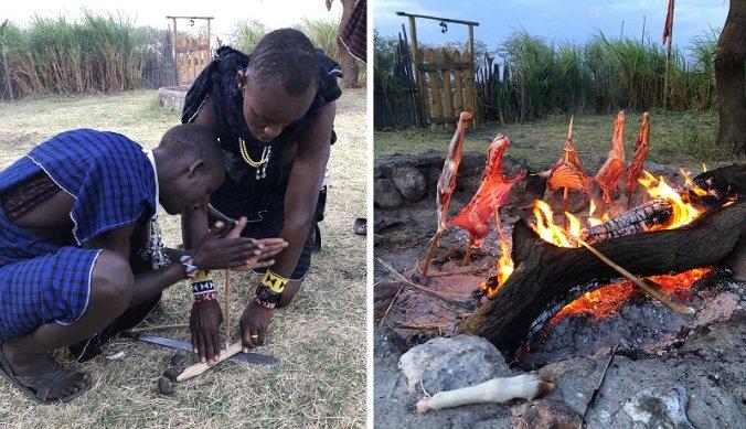 Traditioneel vuur maken en geit slachten voor Maasai barbecue