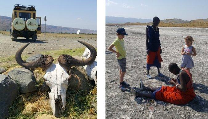 Verlaten Lake Natron en Maasai meisjes
