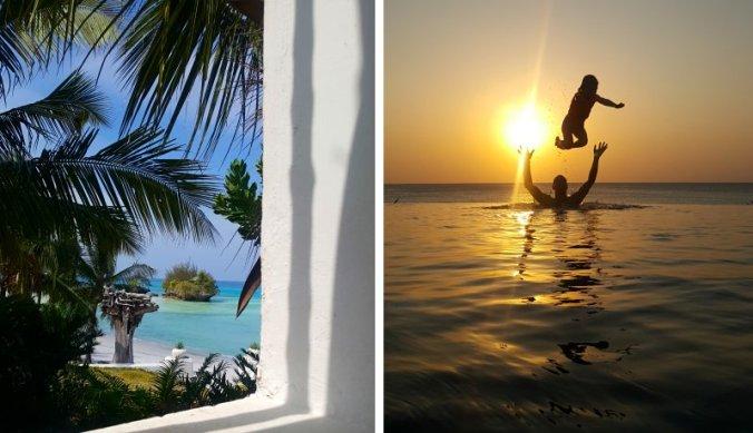 Palmbomen en zonsondergang op Pemba Island