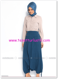 Düğme detaylı indigo şalvar pantolon-75 TL