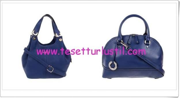 Derimod 2015 mavi bayan deri kol çantaları