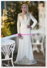 Setrms 2015 işlemeli beyaz kapalı abiye elbise