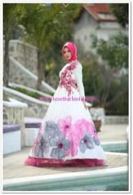 Setrms pembe çiçek desenli kabarık etekli prenses elbise