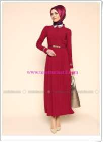 kemerli-elbise-bordo-puane-180 TL