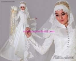 Fatma Sevildi gold tesettür gelinlik