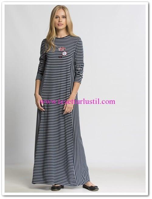 bf2365006d890 lc waikiki lacivert çizgili tesettür spor elbise   Tesettürlü Giyim ...