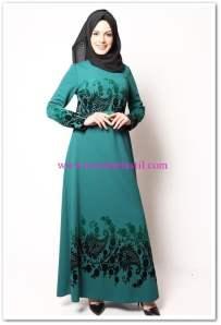 modamerve yeşil çiçek nakışlı elbise