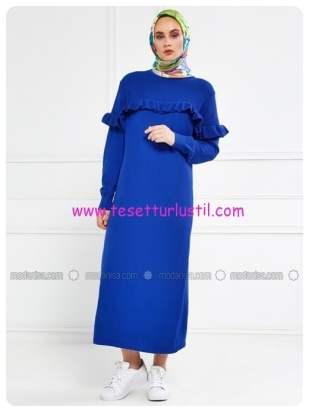 triko-elbise-mavi-refka