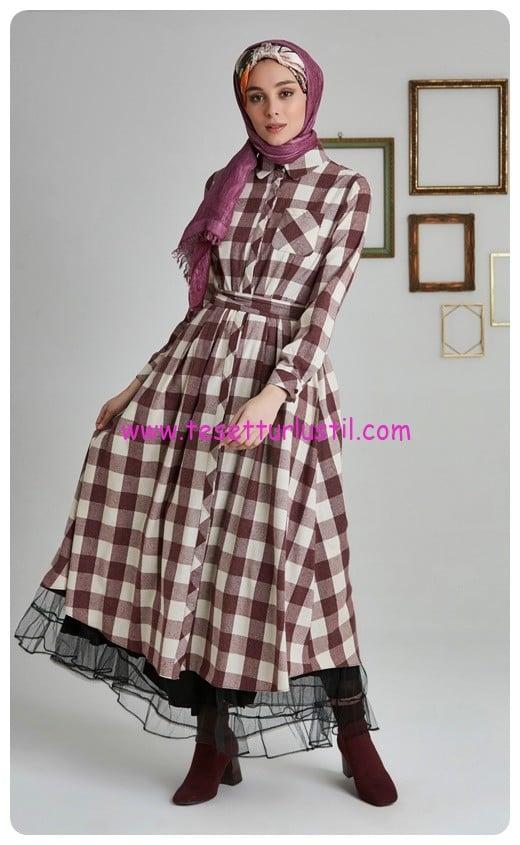 tuğba ekose istanbul elbise-75 TL