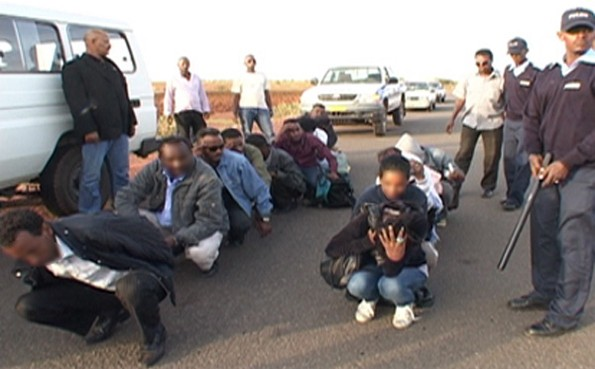Illegal immigrants stopped by police in Asmara, Eritrea as part of Operation Usalama.