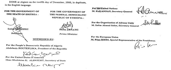 The Algiers Agreement as it was signed in 2000 as Final and Binding. While Ethiopia refuses to take final as final, and binding as binding, its talk for dialogue is nothing but a ruse.