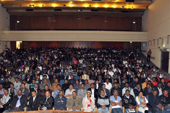 The largely peaceful Eritrean community in Israel attending the community meeting