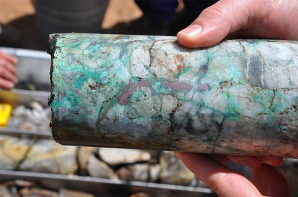Ortac says sampling in Eritrea shows gold up to 23 grammes per tonne. Picture showing Core sample from YDD-036 Yacob Dewar deposit