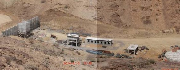 Picture showing ore position and retaining walls - in crushing - crushing section substation and screening workshop - fine ore bin