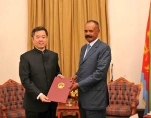 Ambassador Qiu Xuejun presenting his credentials