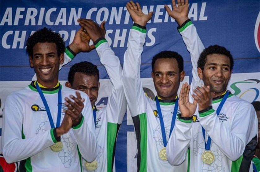 Eritrean Elite Men's team celebrating 2015 African Continental Championship