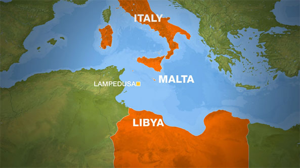 a boat with hundreds of people overturned off Libya's coast