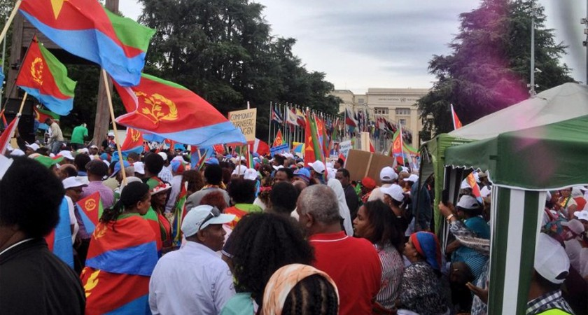 Eritreans demonstrating against the commission of inquiry