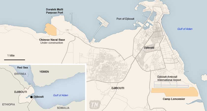 US Wary Of Its New Neighbor In Djibouti A Chinese Naval Base - Us naval bases in japan map
