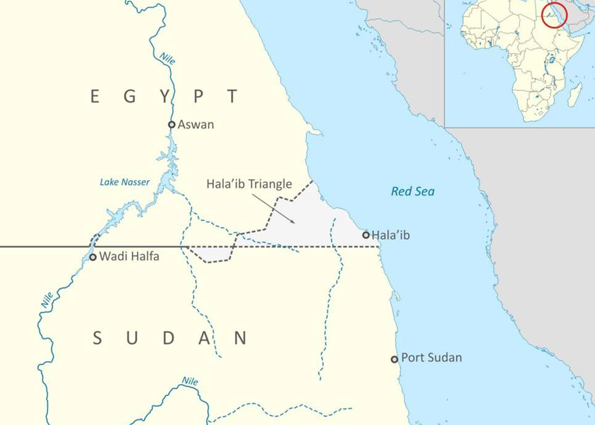 Map of Halayb Triangle, a territory disputed by Egypt and Sudan