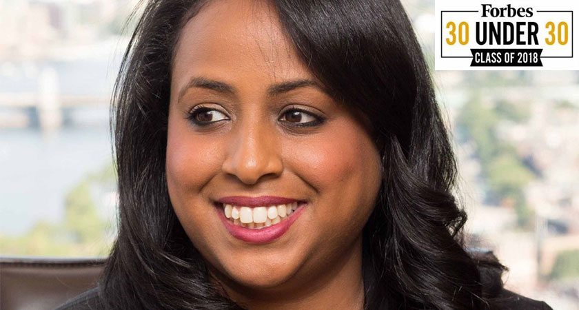 Saron Tesfalul of Eritrea has been named by Forbes as the 28th most influential young entrepreneur in the world of finance