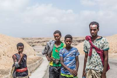 Four young migrants, from the Ethiopian region of Oromia, pictured a few kilometres north of Tadjoura en route to Obock, their final coastal destination