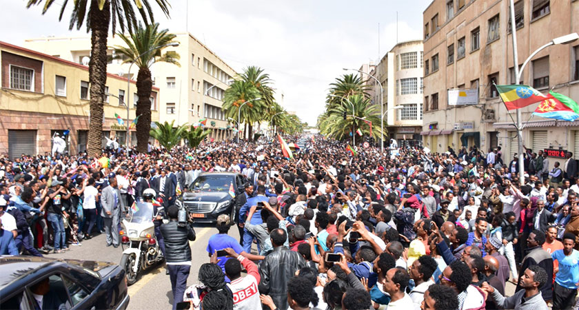 Asmara's residents come out in full force to welcome PM Abiy Ahmed's landmark visit to Eritrea