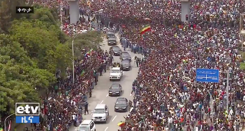 Thousands of Ethiopians turned out in Addis Ababa to welcome President Isaias Afwerki