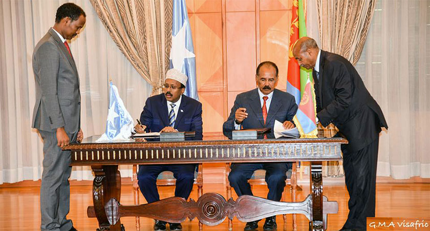"""Signing the Eritrea-Somalia """"Joint Declaration on Brotherly Relations and Comprehensive Cooperation"""" in Asmara"""