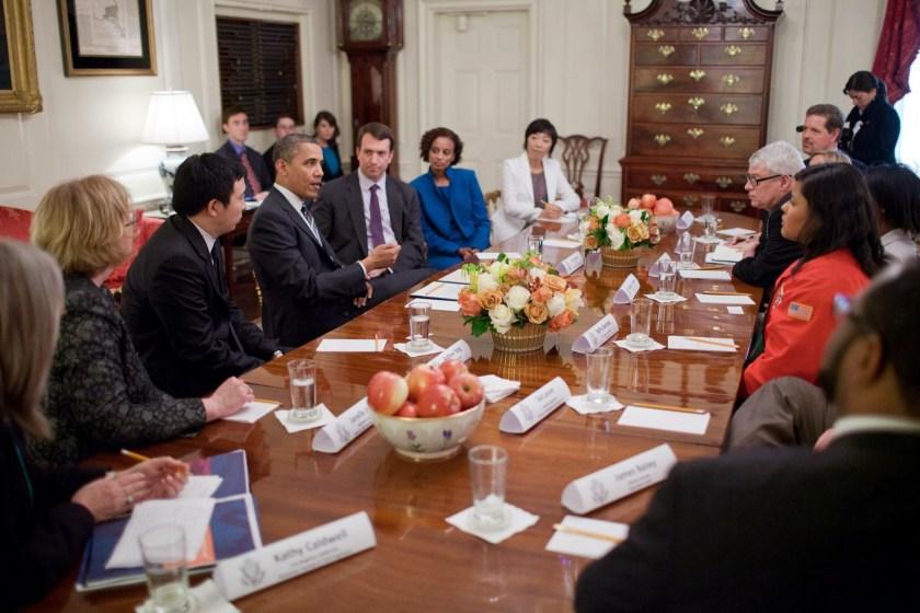 President Barack Obama meets with Champions of Change alumni