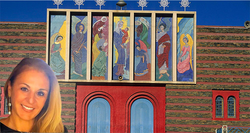Meet Deborah Sanguineti, the granddaughter of artist Nenne Sanguineti who painted the seven panels of Enda Mariam church