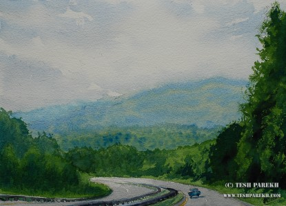 Road to Asheville. 10.5x14.5. Watercolor on paper.