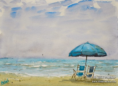 Beach Chairs. Myrtle Beach SC. 9×12. Watercolor on paper. Plein Air.