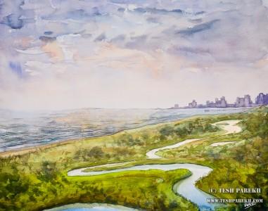 Myrtle Beach Landscape #1. 16×20. Watercolor on paper. Plein Air.
