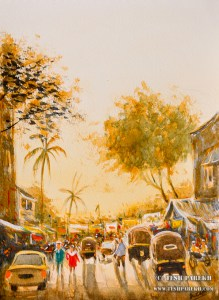 """Mumbai Street Scene"". 12x9. Watercolor on paper. By Tesh Parekh"