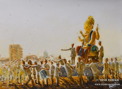 """""""The Lord Ganesha Immersion Procession"""". 9x12. Watercolor on paper. By Tesh Parekh"""