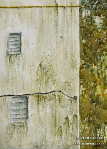 """""""Weathered Mumbai Wall"""". 12x9. Watercolor on paper. By Tesh Parekh"""