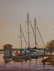 """Docked- New Bern"". 16x12. Watercolor on paper. Artist - Tesh Parekh"