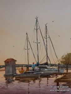 """Docked- New Bern"". 16x12. Watercolor on paper. Artist - Tesh Parekh"