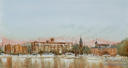 """New Bern Morning"". 12x21. Watercolor on paper. Artist - Tesh Parekh"