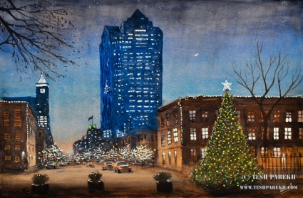 Raleigh Downtown at Christmas. 14x21. Watercolor and Gouache on paper.