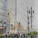 St. Patrick's Day Parade in Charlotte. 14x11. Watercolor on paper. Artist - Tesh Parekh