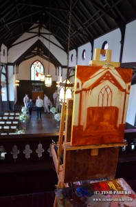 Live wedding painting of ceremony in progress at the All Saints Chapel in Raleigh NC
