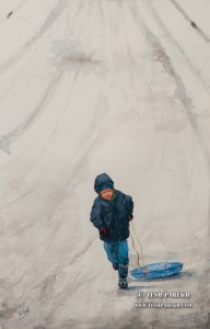 Little Sledder. Watercolor painting on paper.