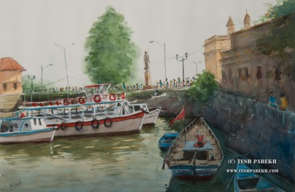 Boats at the Gateway of India. Watercolor painting on paper.